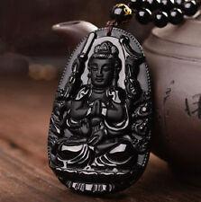 "natural obsidian pendant ""Mahastamaprapta"" amulet pendants patron saint of secur"