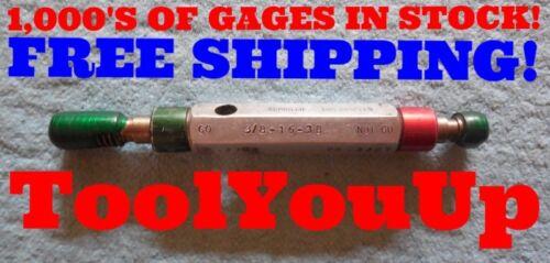 3//8 16 UNC 3B THREAD PLUG GAGE .375 GO NO GO P.D./'S ARE .3344 /& .3387 RED GREEN