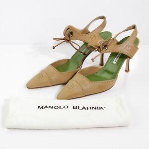 BEAUTIFUL-MANOLO-BLAHNIK-CAMEL-COWHIDE-ANKLE-STRAP-SPECTATOR-PUMPS-SIZE-EUR-41