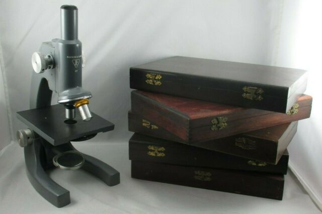 Working BAUSCH & LOMB Monocular Microscope 43x & 10x & Five Old Wood Slide Boxes