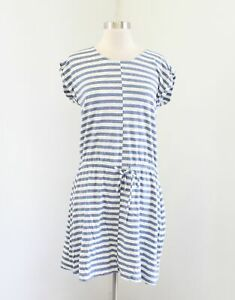 J-Crew-Blue-White-Heather-Striped-Drawstring-Dress-Size-XS-Casual-Beach-F2091