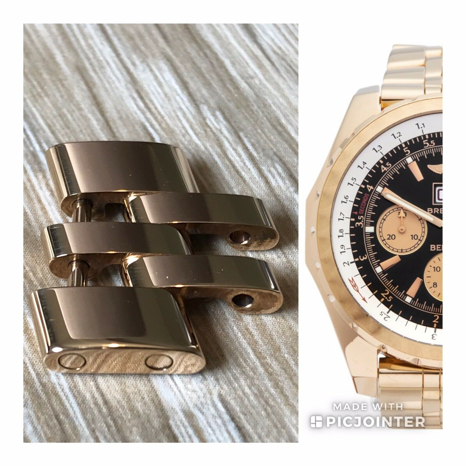 Breitling Bentley 6 75 Chronograph 18k Rose Gold Watch H44363 For Sale Ebay
