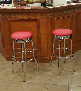 Marvelous Details About 2 X Red Padded Faux Leather Bar Stools Breakfast Retro American Diner Cafe Seat Alphanode Cool Chair Designs And Ideas Alphanodeonline