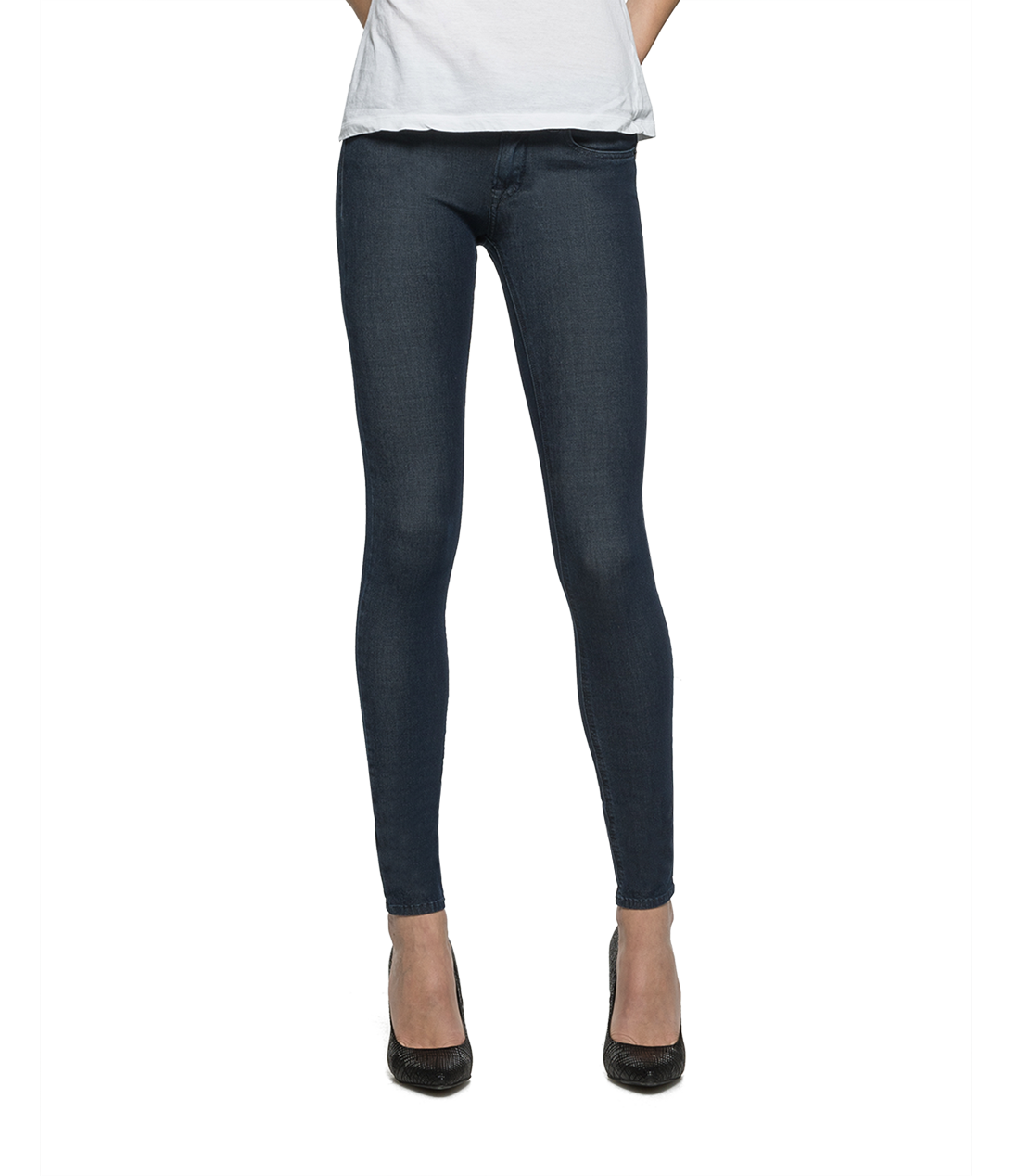 Replay Damen Skinny Jeans LUZ Hyperskin Stretch Denim dunkelblau uni