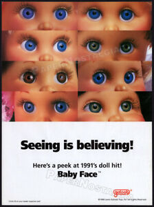 Galoob - BABY FACE dolls__Original 1990 Trade Print AD / advert / toy doll promo