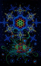 UV Backdrop Space Of Power Deko Wandbehang 1m x 1,5m Hippie Goa Tuch Psy Kunst