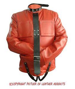 Mens Red Black Real Leather Bondage Strait Jacket Gay Fetish ...