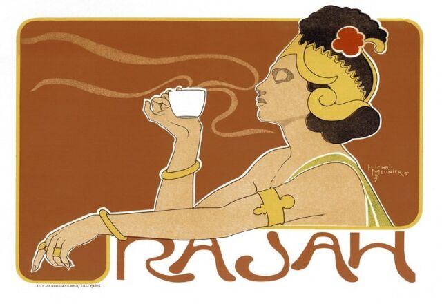 Art Deco Print  RASAH  Coffee / Tea Ad  French Poster