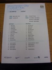05/10/2013 Manchester City Youth v Manchester United Youth  (Single sheet). Than