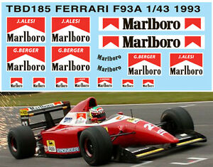 1//43 FERRARI F93A F1 1993 SPONSOR DECALS TB DECAL TBD185