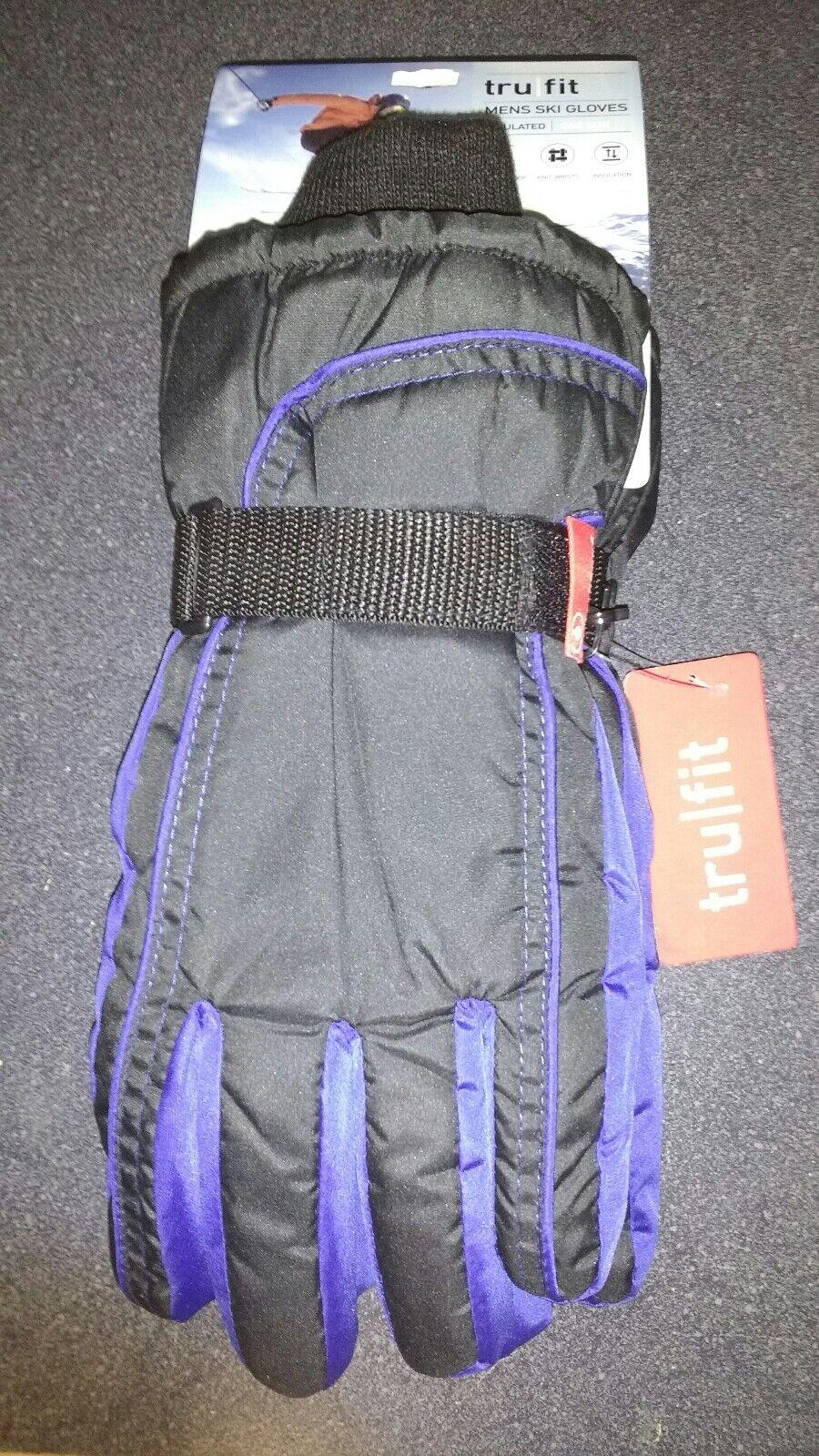 MENS TRUFIT Black Blue Warm Insulated Waterproof Winter Ski Gloves One Size