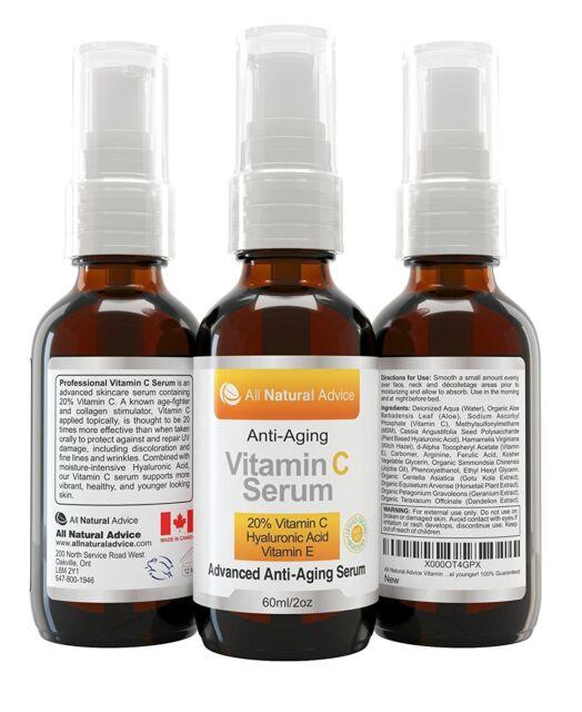 20% Vitamin C Serum - 60 ml / 2 oz Made in Canada - Certified Organic + 11% Hyal