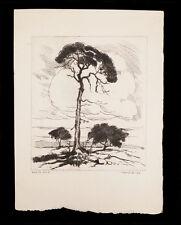 WILLIAM SELTZER RICE ETCHING PRINT WHITE OAK TREES LANDSCAPE ART LISTED ARTIST