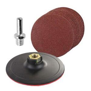10-x-Mixte-Grit-Hook-amp-Loop-125-mm-poncage-disque-avec-SUPPORT-PAD-amp-Perceuse-Adaptateur