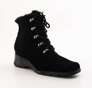 New-Naturalizer-Women-Black-Fur-Ankle-Wedge-Heel-Bootie-Lace-Up-Boot-Shoe-Sz-8-M