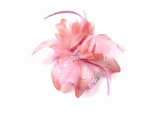 Flower /& Feather  Fascinator on Clear Comb Weddings// Races// Bridal// Proms