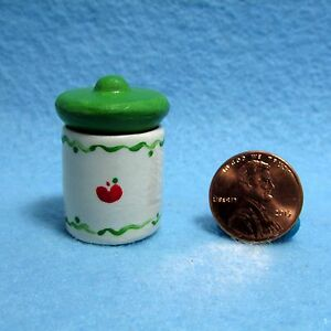 Dollhouse Miniature Cookie Jar With Apple Design Hand