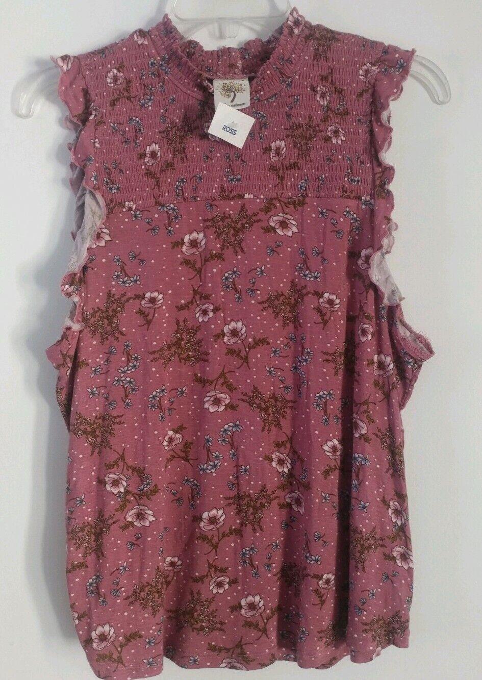 Junior's Self Esteem Blouse Shirt Floral Top Size XL 10