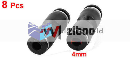 8Pcs Air Piping 2 Ways 4mm to 4mm Straight Coupler Tube Quick Joint Fittings