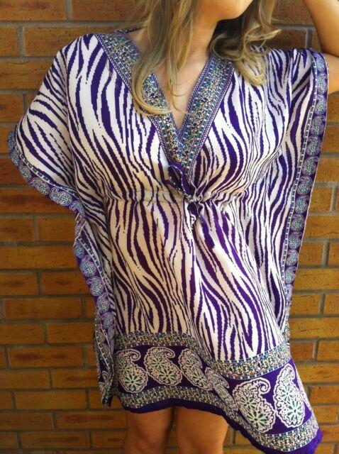 Purple Zebra Tunic Kaftan Poncho Batwing Cool Dress or Shirt & UK Seller