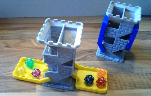 Castle Themed Dice Tower with stone texture and coloured trays
