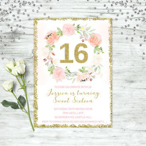 Image Is Loading FLORAL 16TH BIRTHDAY INVITATIONS PARTY SUPPLIES SWEET SIXTEEN