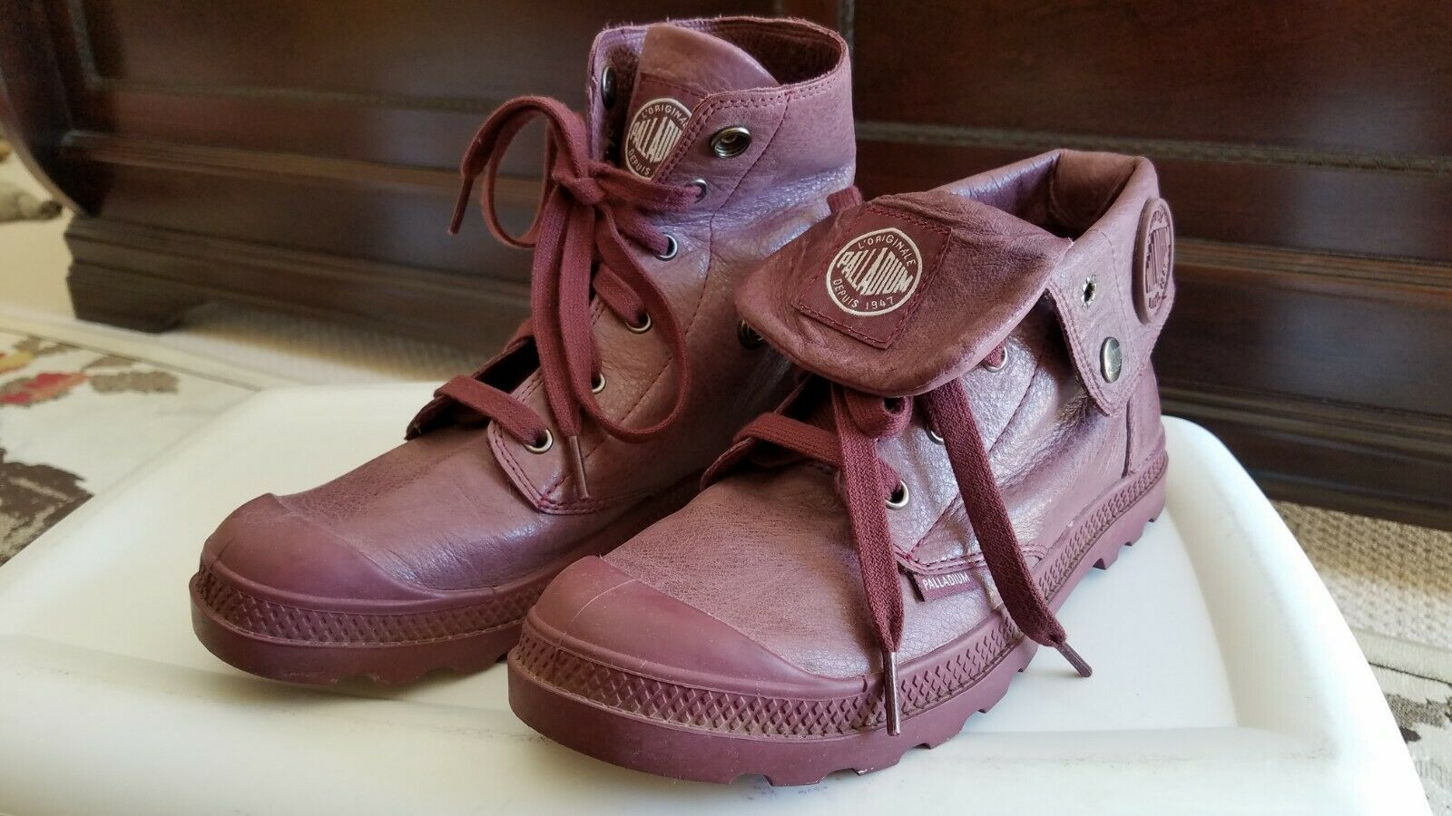 Palladium womens 8.5 8.5 8.5 leather maroon boot 6c88fe