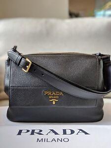 6a05329c2e1c Prada 1BD052 Vitello Daino Leather tote black nero bag women's | eBay