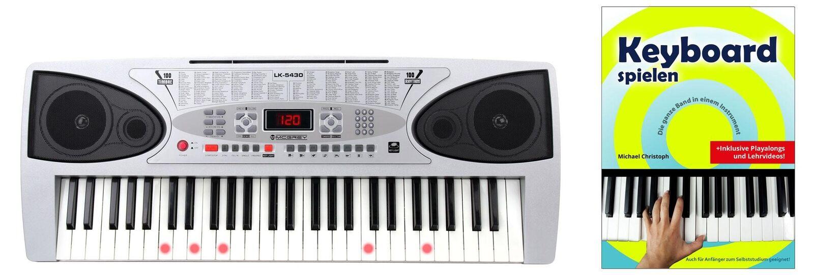 54 Tasten Leuchttasten Keyboard Set E-Piano Keyboardschule 100 Sounds & Rhythmen