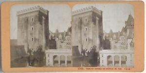 Torre-E-Entree-A-Chateau-Da-Pau-Foto-Stereo-Vintage-Albumina-c1870
