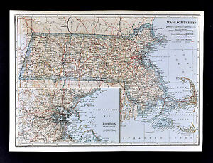 1921 Poates Map Massachusetts Boston Newton Cape Cod Nantucket