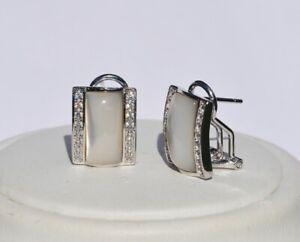 Echt-925-Sterling-Silber-Ohrringe-Ohrstecker-Zirkonia-Perlmut-Hochzeit-Nr-25B