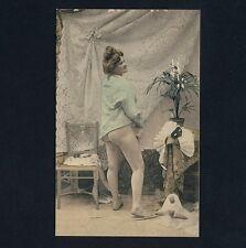 France NUDE WOMAN w MASK / NACKTE FRAU m MASKE Boudoir * Vintage 1900s Fetish PC