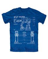 At-at Blaupause T-shirt Blau Blueprint,imperium,walker,star Space Wars,blu-ray