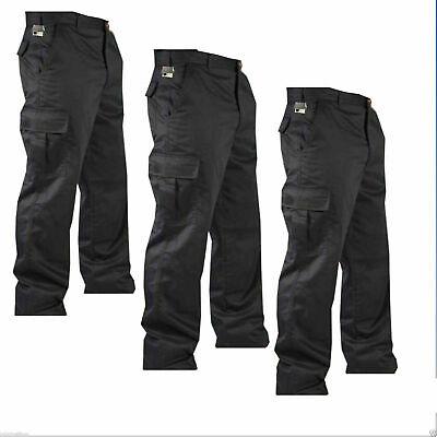 """Da Uomo Cargo Esercito Combattimento Lavoro Pantaloni Pantaloni 30"""" Con 32"""" Gamba Taglia Nero-mostra Il Titolo Originale I Clienti Prima Di Tutto"""