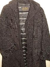 Black astrakan fur persian lamb vintage long swing coat size 18-20