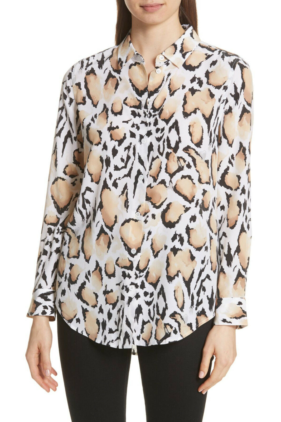 NWT  EQUIPMENT 'Essential' Leopard Animal Print Silk Blouse, Weiß  Multi, L