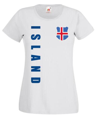 Islanda WM 2018 Donna T-SHIRT MAGLIA NOME NUMERO CALCIO TEAM National