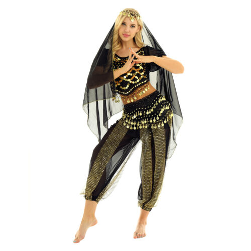 Women Carnival India Shiny Belly Dance Halloween Costume Outfit Set Accessories