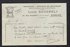 """BORDEAUX (33) USINE de SOUFFLETS & ARTICLES de SOUTIRAGE """"Louis ROUGHOL"""" en 1910"""