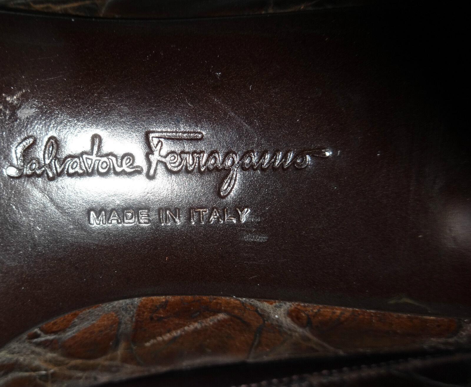 Salvatore Ferragamo elegante Pumps braun Kroko 8,5 Absatz (38,5) Absatz 8,5 3cm neuwertig 00027f