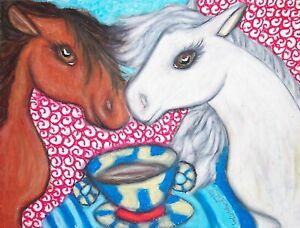 Pony-Drinking-Coffee-Folk-Art-Print-8-x-10-Signed-Artist-Kimberly-Helgeson-Sams