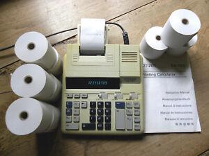 Calculatrice Imprimante Citizen CX-123 vintage + 9 rouleaux de papier écran LCD