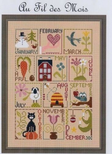 Jardin Prive Au Fil des Mois fun cross stitch chart