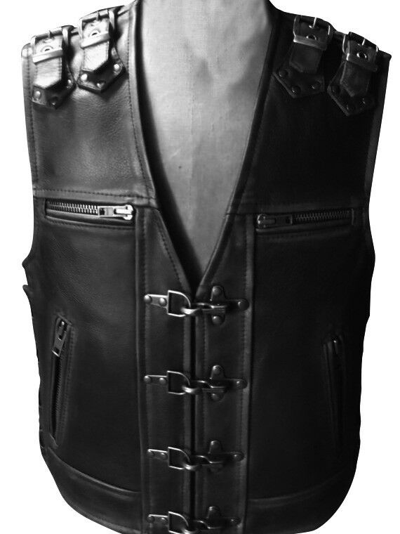 Men Real Cow Leather Bikers Vest Motorcycle Thick Leather Side Laces Vest