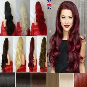 Uk-Womens-3-4-Wig-Fall-Half-Wig-Clip-In-Hair-Piece-Black-Blonde-Highlight-Brown