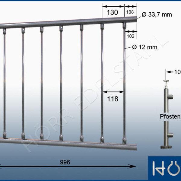 Sistema de acero inoxidable relleno de barandilla 7 puntales L  966-1068