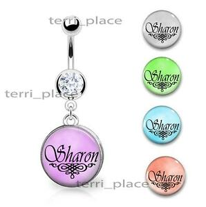 Details About Custom Your Name Belly Ring Navel Piercings Cz Gem Personalized 14ga 3 8 Curve