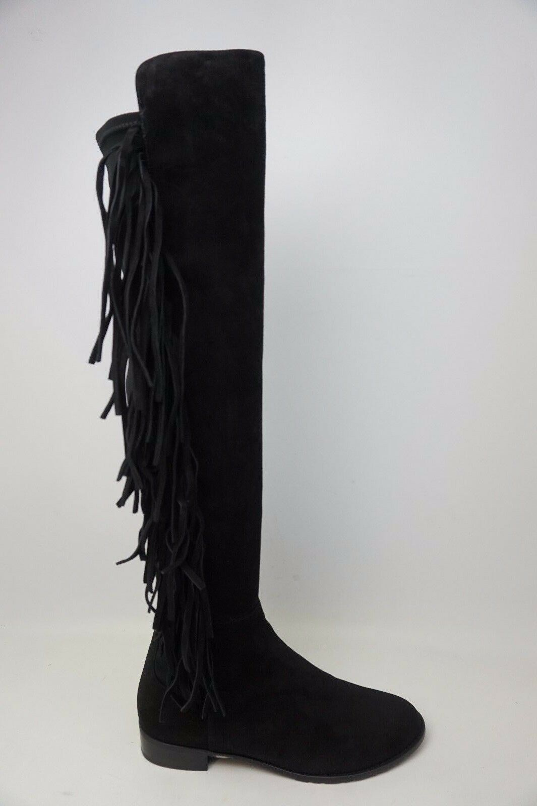 Stuart Weitzman Mane Over the Knee Stretch Black Suede Fringe Women's Boots NEW