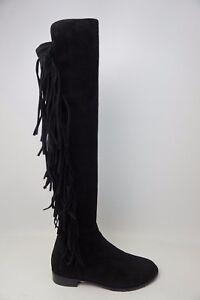Stuart-Weitzman-Mane-Over-the-Knee-Stretch-Black-Suede-Fringe-Women-039-s-Boots-NEW